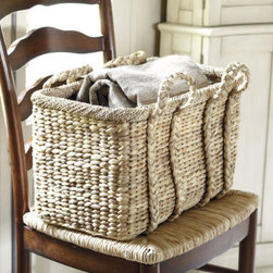 Market Nesting Baskets, Set of 3 - Market Nesting baskets are made from water hyacinth and were designed with sturdy metal frames to hold kindling, laundry and other bulky items.  The handles make it super easy to carry the things you need.