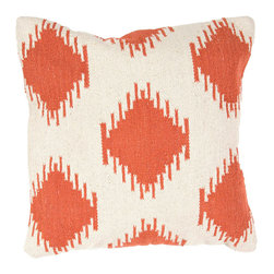 """Jaipur Rugs - Red/Ivory color cotton cad09 pillow poly fill pillow 18""""x18"""" - Hand woven from 100% cotton the Cadiz pillow collection offers a range of open geometrics in bold color combinations. The collection coordinates with Jaipur Maroc and Urban bungalow flat weave rugs."""