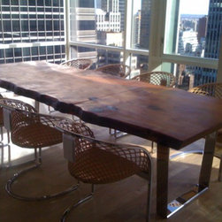 Redwood Slab Dining Table - Redwood table by Scott Dworkin Designs