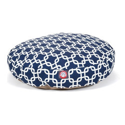 MAJESTIC PET PRODUCTS - Links Round Pet Bed - pet bed looks great in any room of your house and is filled with ultra-plush fiberfill for luxurious napping. The removable zippered slipcover is made from outdoor-treated, UV-protected polyester for durability, and the base is made from heavy-duty waterproof 300/600 denier fabric that can go inside or out. Spot clean the slipcover and hang dry. Comes in a variety of colors and patterns, so you can pick the one that complements your decor.