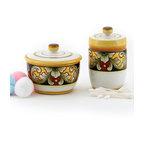 Artistica - Hand Made in Italy - Deruta Vario: Cotton Balls Jar and Cotton Swab Holder - Deruta Vario Collection: