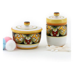 Artistica - Hand Made in Italy - Deruta Vario: Cotton Balls Jar and Cotton Swab Holder - Deruta Vario Collection: