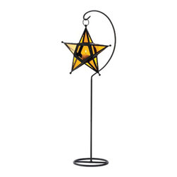 """Koehler Home Decor - Koehler Home Decor Amber Glass Star Lantern Stand - Set the night aglow in amber light. A five pointed star is suspended in air from its wrought iron floor stand, adding a soft, celestial scene to your decor. Weight 2.2 lbs. Lantern: 10""""x 2.5""""x 10"""" high; stand: 29.25"""" high. Iron and glass. Candle not included.Weight 2.2 lbs. Lantern: 10""""x 2.5""""x 10"""". stand: 29"""" high. Material: Iron and glass. ."""