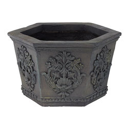 """Lamps Plus - Traditional Decorative Hexagon Outdoor Planter - Ornate embellishment and acanthus accents grace each side of this haute hexagon outdoor planter. A dark gray wash finish adds an elegant patina. Fiberglass and magnesium oxide construction. Dark gray wash finish. Hole in bottom for drainage. 15 1/4"""" wide. 13 1/2"""" deep. 9"""" high.  Fiberglass and magnesium oxide construction.   Dark gray wash finish.   Hole in bottom for drainage.   15 1/4"""" wide.   13 1/2"""" deep.   9"""" high."""