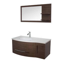 VIGO Industries - VIGO 44-inch Single Bathroom Vanity, Walnut, With Mirror and Shelves - Get people talking with this exquisite VIGO bathroom vanity. No other brand can match VIGO's style, quality and design.