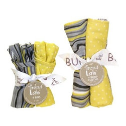 Trend Lab Hello Sunshine Bib & Burp Cloth Bouquet Set - Keep clothes sparkly clean with the Trend Lab Hello Sunshine Bib & Burp Cloth Bouquet Set. This set includes four bibs and four burp clothes with four different modern print designs. The color palette of bright yellow, white, and grey will bring cheer to your day! The patterns are a faux wood grain, chevron stripes, polka dots, and a geometric circle print. Each bib measures 9 x 12 inches and has convenient Velcro closures. Each burp cloth measures 13 x 10 inches. This set coordinates with the Trend Lab Hello Sunshine Crib Bedding Set and accessories.About Trend LabFormed in 2001 in Minnesota, Trend Lab is a privately held company proudly owned by women. Rapid growth in the past five years has put Trend Lab products on the shelves of major retailers, and the company continues to develop thoroughly tested, high-quality baby and children's bedding, decor, and other items. Trend Lab continues to inspire and provide its customers with stylish products for little ones. From bedding to cribs and everything in between, Trend Lab is the right choice for your children.