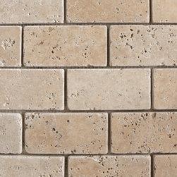 "2""x4"" Travertine Classic Brick Pattern TumbledNatural Stone Mosaic -"