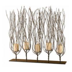 "Uttermost - Dark Brown Fedora ""Trees"" Candleholder With Clear Bead Accents - Dark Brown Fedora ""Trees"" Candleholder With Clear Bead Accents"