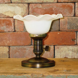 Ruffled Milk Glass Semi-Flush Ceiling Fixture - This light adds a beautiful vintage accent above your kitchen sink, bathroom, mud room or powder room.Includes new electrical parts with a custom ceiling mount fixture.