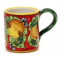 Artistica - Hand Made in Italy - GERIBI: Mug Fruits with red background. - GERIBI Collection: Geribi is a leading designer and manufacturer of ceramics from Deruta, the renown hilltop town located in the Umbria region.