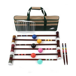 Lion Sports - 6 Players 24 in. Croquet Set - Six 24 in hardwood handles and 7 in hardwood mallets with caps. Two 16 in hardwood game stakes for marking your course. Nine vinyl-coated steel wickets. 25.2 in. L x 3.86 in. W x 9.76 in. H (9 lbs)Croquet. The game of Princes and Earls. The Lion Sports brings this mid 19th century game into the modern era with the 6 Player 24 in. Croquet Set. You get everything you need for weekends of backyard competition. Great for all members of the family, croquet combines many skills and encourages a well mowed and manicured lawn. This 24 in. croquet set comes complete with equipment for six players, along with game rules and instructions. A handy carrying bag makes transportation and storage easy. Set includes Six - 24 inch hardwood mallet handles, Six - 7 in. hardwood mallet heads with protective caps, Two - 16 in. hardwood stakes, Six - 2.75 in. diameter polymer balls and Nine - vinyl-coated steel wickets. Carrying/storage case. Also includes a complete set of rules. However, as always, we encourage you to make up your own rules, play and have fun.