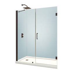 """BathAuthority LLC dba Dreamline - Unidoor Frameless Hinged Shower Door, 52 - 53""""W x 72""""H, Oil Rubbed Bronze - The Unidoor from DreamLine, the only door you need to complete any shower project. The Unidoor swing shower door combines premium 3/8 in. thick tempered glass with a sleek frameless design for the look of a custom glass door at an amazing value. The frameless shower door is easy to install and extremely versatile, available in an incredible range of sizes to accommodate shower openings from 23 in. to 61 in.; Models that fit shower openings wider than 31 in. have an adjustable wall profile which allows for width or out-of-plumb adjustments up to 1 in.; Choose from the many shower door options the Unidoor collection has to offer for your bathroom renovation."""
