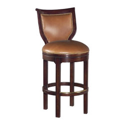 EuroLux Home - New Swivel Counter Stool Caramel Leather - Product Details
