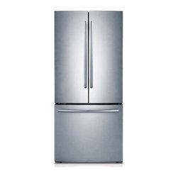 """Samsung - RF220NCTASR 30"""" 21.6 Cu. Ft. French-Door Refrigerator with Digital Temperature C - Keep your fresh and frozen foods organized in this Samsung French door refrigerator that features a 216 cu ft capacity 6 gallon-size door bins and 2 humidity-controlled crispers to provide plenty of storage space"""