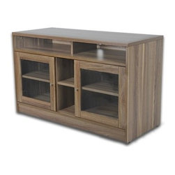"""Jesper Office - 47"""" TV Stand - Features: -Laminate wood material. -Pre mounted levelers. -Ventilation. -Glass doors. -Wire management. -Adjustable shelves. -Manufacturer provides 5 years warranty."""