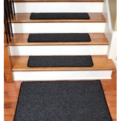 "Dean Flooring Company - Dean Premium New Zealand Wool Carpet Stair Treads - Monet Night Sky (13) 30"" x 9 - Dean Premium New Zealand Wool Carpet Stair Treads - Monet Night Sky (13) 30"" x 9"" Plus a 2' x 3' Landing Mat : Premium Wool Carpet Stair Treads by Dean Flooring Company Color: Monet Night Sky (Black) Material: 80% New Zealand Wool and 20% Cotton. Edges: Finished (serged) with attractive color matching yarn. The size of each tread measures approximately 30"" x 9"". Set includes 13 stair treads plus a matching 2' x 3' landing mat.  Easy to spot clean and vacuum. Helps prevent slips on your hardwood stairs. Great for helping your dog easily navigate your slippery staircase. Reduces noise. Reduces wear and tear on your hardwood stairs. Attractive: adds a fresh new look to your staircase. Easy DIY installation with double sided carpet tape or (not included - sold separately). WOOL is the traditional fiber used to make rugs, and it's no big mystery why. Besides being luxurious to the touch, wool can be dyed to beautiful rich colors, is fire-resistant, stain resistant, non-allergenic and holds up well over time. Also, wool is biodegradable and a renewable resource, making it a green choice as well as an elegant one. Add a touch of warmth and style to your home today with stair treads from Dean Flooring Company!"