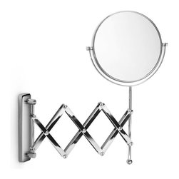 WS Bath Collections - Mirror Pure Mevedo Revolving Magnifying Mirro - Makeup Magnifying Mirror. Magnification 3 Times. Solid Brass Construction. Made by Lineabeta of Italy. Finish/Color: Polished Chrome. Dimensions: 9 in. Diameter
