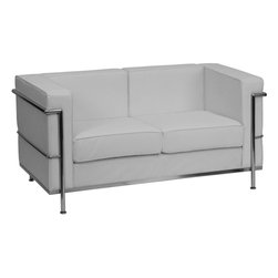 Flash Furniture - Hercules Regal Series Contemporary White Leather Loveseat with Encasing Frame - This attractive white leather reception love seat will complete your upscale reception area. The design of this love seat allows it to adapt in a multitude of environments with its smooth upholstery and visible accent stainless steel frame.