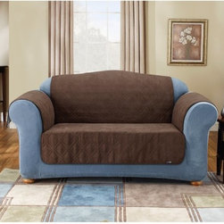 Sure Fit - Sure Fit Suede Loveseat Pet Throw Cover - 37469 - Shop for Furniture Savers from Hayneedle.com! About Sure FitSurefit Inc. is widely known for its attractive quality furniture covers slipcovers and decorative accessories. The success of their ready-made furniture slipcovers and accessories is based on extensive experience providing cost-effective decorative solutions made to fit in a broad range of styles to meet the needs of all customers. Sure Fit's furniture slipcover product line includes slipcovers for sofas loveseats chairs oversized chairs wing chairs dining room chairs recliners ottomans and folding chairs as well as furniture and pet throws. Sure Fit also sells coordinating decorative pillows. Sure Fit is dedicated to quality product with rigorous durability and performance standards that are second to none. Many patterns feature dual-action Scotchgard Protector to repel and release stains. Home of the Ten Minute Makeover Sure Fit provides an attractive and affordable solution for consumers who need to protect furniture from children pets and general wear or want to quickly and cost-effectively upgrade their furniture and enhance the appearance of any room.Please note this product does not ship to Pennsylvania.