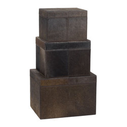 Lazy Susan - Nested Faux Pony Boxes, Set of 3 - Nested Faux Pony Boxes, Set of 3
