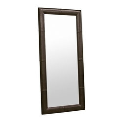 Baxton Studio - Floor Mirror with Dark Brown Leather Frame - Match or complement the look of your furniture with this oversized floor mirror. The long mirror is sized to accommodate the heights of most individuals and is bordered by a stylish by cast leather frame. The back is lined with black material. Please note this is a floor mirror and does not include hardware for mounting on a wall. This item is available in dark brown, black, and cream by cast leathers.