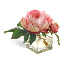 Winward Designs - Mini Peony Pink Flower Arrangement - This miniature arrangement features mini peonies. The arrangements in this collection prove that good things come in small packages. They go perfectly on bathroom sinks, guest bedroom nightstands and bookshelves.