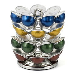 Nifty - Nespresso Vertuoline Capsule Carousel - The nifty carousel for Vertuoline capsules elegantly displays your Nespresso Vertuoline coffee capsules. The carousel makes choosing your favorite flavor of coffee or espresso easy and convenient. The carousel will hold up to 28 of your favorite Vertuoline espresso or coffee capsules. The lazy Susan base will rotate 360 degrees enabling you to easily view and select the flavor of your choice. The carousel is nickel chrome plated and built to last.