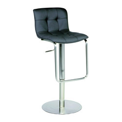 "Chintaly Imports - Chrome/Black Pneumatic Gas Lift Adjustable Height Swivel Stool - This is a pneumatic gas lift adjustable height stool. It comes in a brushed stainless steel finish, with a black polyurethane upholstered seat. The height adjusts from counter stool height of 23"" up to the bar stool height of 32""."