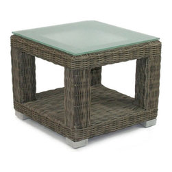 Patio Heaven Palisades End Table with Tempered Glass Top - The Patio Heaven Palisades End Table with Tempered Glass Top is topped beautifully with frosted tempered glass to accommodate all your entertaining needs. Made of highly-functional resin wicker, this piece is UV-resistant, so it won't rot, fade or crack from exposure to the sun. Ensuring your enjoyment year round. Complete with extra storage space at the bottom, an extra shelf accommodates your favorite outdoor accessories.About Patio HeavenWith over 40 years of experience in working with top manufacturers and designers, Patio Heaven brings you signature collections with both classic and modern design elements. Drawing inspiration from the ocean to the mountains and everywhere in between, Patio Heaven lets you bring your sense of style to your outdoor living space. Their furniture looks great in any season and any region. With furniture from Patio Heaven, you don't just pick out patio furniture ñ you choose a lifestyle.