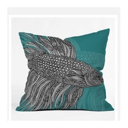 "DENY Designs - Valentina Ramos Beta Fish Throw Pillow - Wanna transform a serious room into a fun, inviting space? Looking to complete a room full of solids with a unique print? Need to add a pop of color to your dull, lackluster space? Accomplish all of the above with one simple, yet powerful home accessory we like to call the DENY Throw Pillow! Features: -Valentina Ramos collection. -Color: Print. -Material: Woven polyester. -Sealed closure. -Spot treatment with mild detergent. -Made in the USA. -Closure: Concealed zipper with bun insert. -Small dimensions: 16"" H x 16"" W x 4"" D. -Medium dimensions: 18"" H x 18"" W x 5"" D. -Large dimensions: 20"" H x 20"" W x 6"" D. -Product weight: 3 lbs."