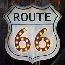 Route 66 Road Sign - With daydreams of roadtrips tucked away in the back of our minds as we go about our daily grind, it's important to have a reminder to get out and see the world through a car window filled with friends or family. Bring this vintage-inspired illuminated road sign into your home, and never forget to go out and explore the open space of the highway.