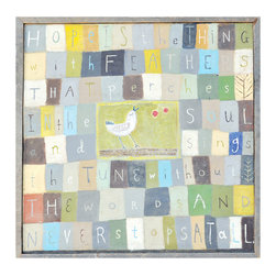 Kathy Kuo Home - Hope Is The Thing With Feathers Block Bird Reclaimed Wood Art Print - Large - Designed by a husband and wife team, our giclee prints are inspired by the ones we love. Motifs comes from family, nature, animals, old things, children's art and folk art. All prints are hand painted first, and then giclee printed in the Blue Ridge Mountains of North Georgia.