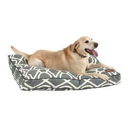 """Ballard Designs - Pillow Dog Bed - Available in three of our best-selling fabrics. Filled with an eco-friendly green fiber. Inserts are overstuffed and channeled to prevent flattening or condensing. Made in the USA. When it comes to serious napping, discerning canines can be divided into two groups: Curlers & Sprawlers. This sumptuous Pillow Dog Bed is designed for the """"lay-about at your leisure"""" crowd. Cushy lift-out cushion has machine-washable, zip-off cover.Pillow Dog Bed features:. . . ."""