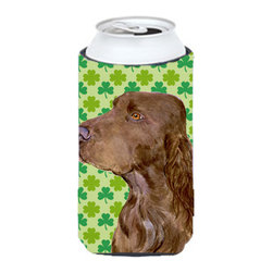 Caroline's Treasures - Field Spaniel St. Patrick's Day Shamrock Portrait Tall Boy Koozie Hugger - Field Spaniel St. Patrick's Day Shamrock Portrait Tall Boy Koozie Hugger Fits 22 oz. to 24 oz. cans or pint bottles. Great collapsible koozie for Energy Drinks or large Iced Tea beverages. Great to keep track of your beverage and add a bit of flair to a gathering. Match with one of the insulated coolers or coasters for a nice gift pack. Wash the hugger in your dishwasher or clothes washer. Design will not come off.