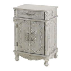 Currey & Company - Caliban Cabinet - An excellent choice as an end table or nightstand, the Caliban Cabinet is detailed and richly adorned. This carved cabinet is finished in Cloudy Sky giving it a soft and transitional appeal. For everyday care, dust with a clean, dry cloth. Wipe spills immediately with soft dry cloth. Always use coasters or mats. Never place cups, glasses or anything hot directly on the surface. This could cause discoloration.