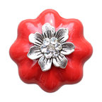 DaRosa Creations - Ceramic Drawer Knob Pumpkin in Red with Flower and Crystals - Ceramic Drawer Knobs Pumpkin in Red with Flower and Crystals
