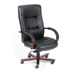 """Boss - Executive Leather High Back Chair With Mahogany Finished Wood With Knee Tilt - Beautifully upholstered in Black Italian Leather. Matching hard wood arms with removable pads. Passive ergonomic seating with built in lumbar support. Upright locking positions. Pneumatic gas lift seat height adjustment. Adjustable tilt tension control. Mahogany wood finish on 27"""" base. Hooded double wheel casters. With knee tilt mechanism."""