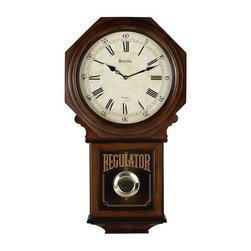 BULOVA - Bulova Ashford Regulator Wall Clock Model C3543 - There is something timeless about a regulator clock, especially the Ashford from Bulova. Perhaps it is the wood veneer case and Old World walnut finish. Or it could be that this Bulova wall clock reminds you of being captivated by a regulator clock as a child. Whatever the case may be, the solid wood Ashford regulator wall clock is a true piece of art that can stand the test of time. With it serenading the room with the Westminster melody on the top of the hour, this Bulova wall clock is one that can make any house a home.