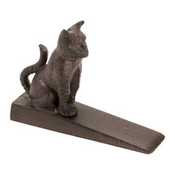 Koolekoo - Cute Kitty Cat Door Stopper - This cast iron kitty is sitting pretty while holding the door open for you! Fill your home with fresh air with help from this wedge-style door stop. It works with most any door and the charming cat figurine will delight both you and your visitors.