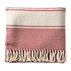Serena & Lily - Banded Herringbone Throw Tomato - With its dreamy drape, this cozy throw will be a fast favorite. Bookended by stripes in contrasting ivory and detailed with a knotted fringe, the look is timeless. Each is handcrafted at one of our favorite mills in Maine.