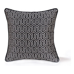 14 Karat Home - Celeste - It's strong, it's bold, it's oh so modern with a woven geometric jacquard design.  This woven patterned front is backed with a luxurious black chenille back.  Perfect for a modern or industrial décor.