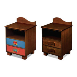 "Room Magic - Cowboy Nightstand, Chocolate - This attractive quality nightstand made with solid hard wood has a wave shaped back piece, and storage shelf for stowing all your childrens favorite storybooks and toys. Two drawers have reversible drawer fronts that have a colorful stain finish on one side and and Chocolate finish on the other, allowing you to easily change the look when your child outgrows the colorful stains. Includes 2 natural waves knobs and 2 adorable cowboy boot knobs.  18""L x 16""D x 29""H"