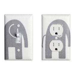 Elephant Nursery - Handmade light switch plates and outlet covers are a fun and creative way to add the perfect finishing touch to your child's room or baby nursery!  This light switch plate and outlet cover features an adorable storm gray elephant on a white background1