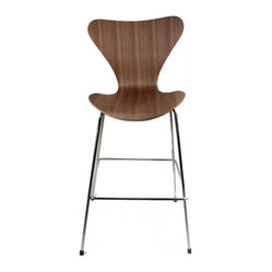 Fine Mod Imports - Arne Jacobsen Style Series 7 Bar Chair Walnut - Danish modern meets contemporary comfort. Your kitchen counter deserves a work of art and this retro style chair could be just what you're looking for. Clean, simple and comfortable. Climb aboard!