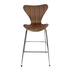 Fine Mod Imports - Arne Jacobsen-Style Series 7 Bar Chair, Walnut - Danish modern meets contemporary comfort. Your kitchen counter deserves a work of art and this retro style chair could be just what you're looking for. Clean, simple and comfortable. Climb aboard!