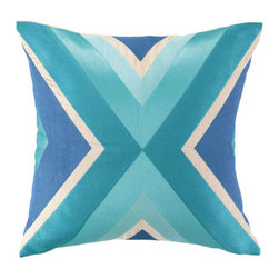 """Trina Turk - Trina Turk Building Blue Embroidered Pillow - Inspired by colorful and vibrant fashion design, Trina Turk infuses home decor with Palm Springs chic. The square Building throw pillow is embroidered with thick lines that converge to form its geometric criss-cross center.  20""""W x 20""""H; 100% linen; Aqua, sky blue and teal; Handcrafted; Includes 95/5 feather down pillow insert; Dry clean only"""