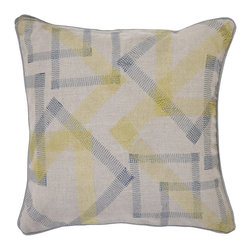 """Villa - Shinto Natural Linen Pillow Set of 2 - At once fresh and familiar, the Shinto pillows boast a funky geometric pattern formed by overlapping zig zag embroidery. Finished with cool gray piping, their lime green and navy blue palette lend an understated pop of color to the sofa, chair or bed. 18"""" Sq; Set of two; 100% linen; Includes 95/5 feather down pillow insert; Hidden zipper closure; Hand wash"""