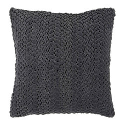 "Surya P0276-1818P 100% Cotton 18"" x 18"" Decorative Pillow - This solid textural pillow gives your space a fun, new look. The color pewter accents this decorative pillow. This pillow contains a poly fill and a zipper closure. Add this 18"" x 18"" pillow to your collection today. Filler: Poly Fiber. Shape: Square"