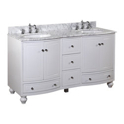 Kitchen Bath Collection - Palazzo 60-in Double Sink Bath Vanity (Carrara/White) - This bathroom vanity set by Kitchen Bath Collection includes a white cabinet with soft close drawers and self-closing door hinges, Italian Carrara marble countertop with stunning beveled edges, double undermount ceramic sinks, pop-up drains, and P-traps. Order now and we will include the pictured three-hole faucets and a matching backsplash as a free gift! All vanities come fully assembled by the manufacturer, with countertop & sink pre-installed.