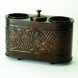 """Old Dutch International - Antique Embossed """"Heritage"""" 2 Bottle Wine Chiller - Chill out in style. This beautiful, functional piece is a must for party people like you — bringing bottles to the perfect temperature and keeping ice protected too. Made of copper-finished steel with a lovely grapevine design, it adds a posh touch to any event."""